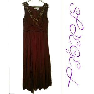 Spiegel Sequined Burgundy Retro Maxi Gown sz 10